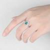 Art Deco Emerald Engagement Ring Set White Gold May Birthstone Ring 2pcs Wedding Bridal Set