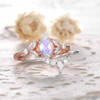 Vintage Oval Moonstone Engagement Ring Set