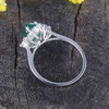 Real Natural Emerald White gold Ring Genuine Diamond Halo Ring