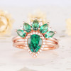 Halo Emerald Engagement Ring Set Marquise Cut Cluster Ring Rose Gold Bridal Set
