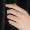 Solid White Gold Moissanite Band Women Wedding Band Rings Three Row Moissanite Ring