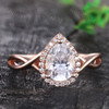 14K Solid Gold Moissanite Engagement Ring Vintage Diamond Ring For Women