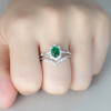 Columbia Emerald Bridal Set Unique Engagement Ring Green Gemstone Ring