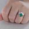 14K White Gold Emerald Wedding Ring Set Round Gemstone Ring Diamond Wedding Band