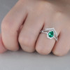 Pear Emerald Ring Set Green Emerald Gemstone Anniversary Ring Diamond Chervon Band