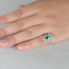Marquise Emerald Engagement Ring Unique Wedding Ring Set V Curved Stacking Diamond Band