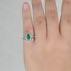 Marquise Emerald Engagement Ring Unique Wedding Ring Set V Curved Stacking Band