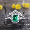 Emerald Gemstone Statement Ring Emerald Cut Wedding Ring Set