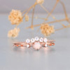 Dainty Opal Ring Set Moonstone Wedding Band Round Opal Ring Bridal Set
