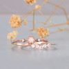 Rose Gold Opal Ring Set Moonstone Wedding Band Round Opal Ring Bridal Set