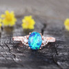 Black Opal Ring Rose Gold Diamond Engagement Ring