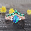 Black Opal Engagement Ring Set