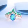 Art Deco Oval Black Opal Wedding Ring Set Antique Diamond Emerald Bridal Set