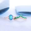 Art Deco Oval Black Opal Wedding Ring Set