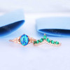 Oval Black Opal Ring Diamond Emerald Crown Curve Eternity  Band Set
