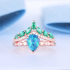 Pear Cut Black Opal  Engagement Ring Diamond Crown Chervon Eternity  Band Set