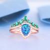 Opal Halo Ring-BBBGEM Blue Opal Rings