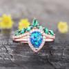 Vintage Opal Bridal Ring Set Rose Gold-BBBGEM Blue Opal Rings