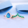 Vintage Opal Bridal Ring Set Rose Gold Art Deco Opal Diamond Emerald Engagement Ring Set