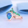 Vintage Opal Bridal Ring Set Rose Gold