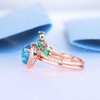 Pear Shaped Opal Ring-BBBGEM Blue Opal Rings