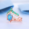 Black Opal Emerald Engagement Ring Set Rose Gold Vintage Antique Floral Wedding Ring