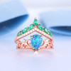 Black Opal Emerald Engagement Ring Set