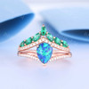 Art Deco Diamond Black Opal Engagement Ring Marquise Emerald Curve Eternity Band Set