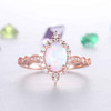 Vintage Opal Engagement Ring Halo Diamond Wedding Ring Art Deco Milgrain Jewelry