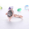 Black Rutilated Quartz Engagement Ring Rose Gold