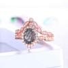 Black Rutilated Quartz Diamond Wedding Ring
