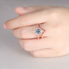 Alexandrite Engagement Ring Set Rose Gold Diamond Matching Band Crown Ring Promise Vintage Style