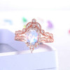 Diamond Halo Moonstone Engagement Ring Set
