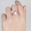 Vintage Oval White Opal Engagement Ring Set