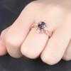 Unique Vintage Color Change Alexandrite Engagement Ring Set