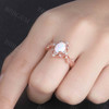 White Opal Ring Rose Gold Opal Engagement Ring