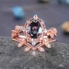 Vintage Alexandrite Ring Set 14K Rose Gold Engagement Ring