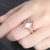 6x8mm White Fire Opal Engagement Ring Set