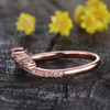 Rose Gold Diamond Curved Wedding Band Art Deco V Shaped Stacking Ring Chevron Crown Wedding Ring