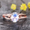 Art Deco Moonstone Engagement Ring Curved Wedding Ring Rose Gold Split Shank Band