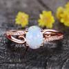 Vintage Art Deco Opal Engagement Ring Wedding Band