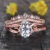 14K Rose Gold Moissanite Engagement Ring Set