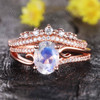 Art Deco Moonstone Engagement Ring Set