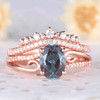 Alexandrite Engagement Ring Rose Gold Set