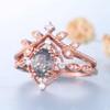 Vintage Black Rutilated Quartz Engagement Ring Rose Gold