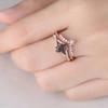 Black Quartz Rutilated Engagement Ring Unique Wedding Ring Set