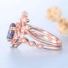 Vintage Alexandrite Wedding Ring Set Rose Gold Ring