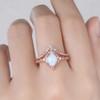 Vintage White Opal Engagement Ring Set