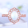 Opal Ring Vintage Opal Engagement Ring Rose Gold Art Deco Ring Women Diamond Eternity Band