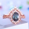 Alexandrite Engagement Ring Set Rose Gold Wedding Ring Art Deco Diamond Matching Band Crown Ring